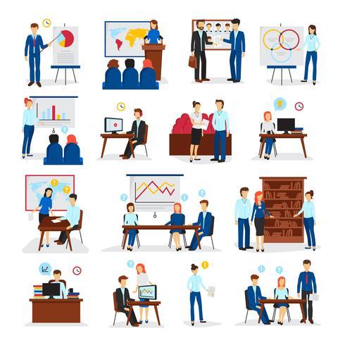 Conjunto de iconos planos de consultoría de formación empresarial