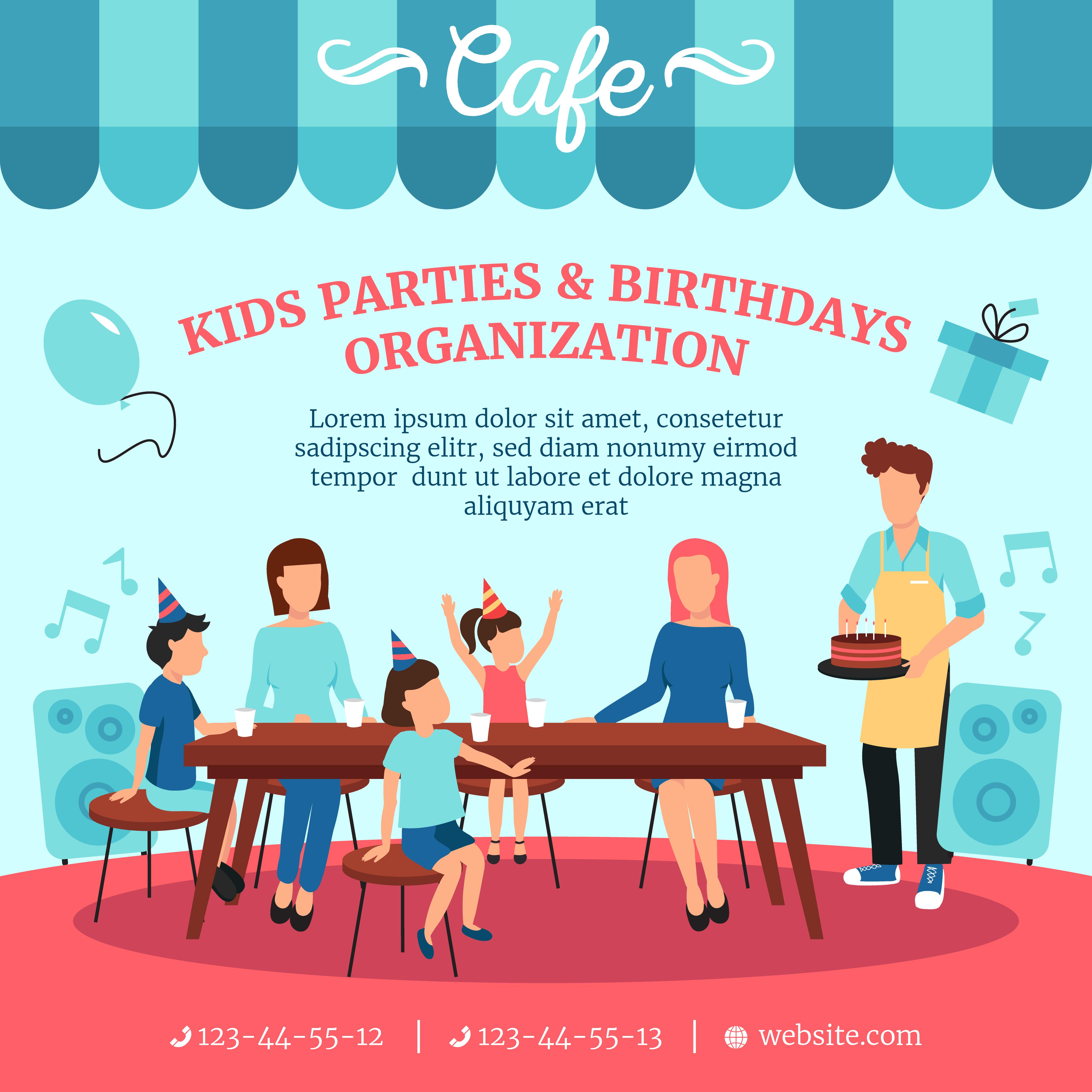 Cafe Restaurant Service Flat Poster Advertisement 484210
