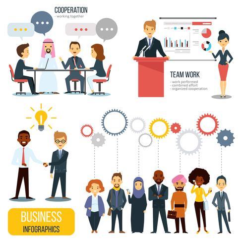 Conjunto de infografías de negocios de trabajo en equipo y asociación