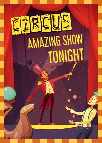 Affiche de style rétro pour une représentation de cirque