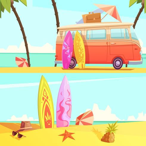 Surfa banners Retro tecknad illustration