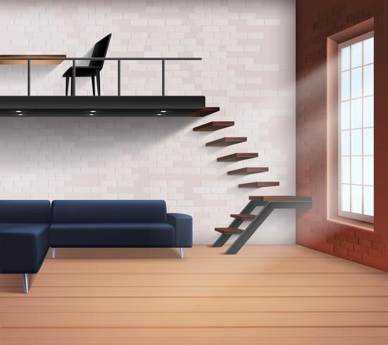 Concepto de interior de loft realista vector