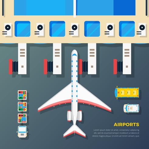 Airport Apron Plane At Jet Bridge  vector