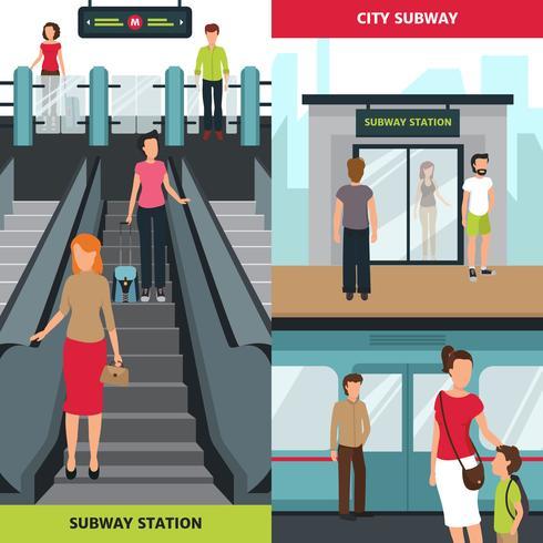 Banners verticales de personas de metro