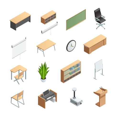 Classroom Interior Elements Icons Set vector