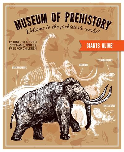 Illustrazione disegnata a mano Mammoth Illustration Poster vettore