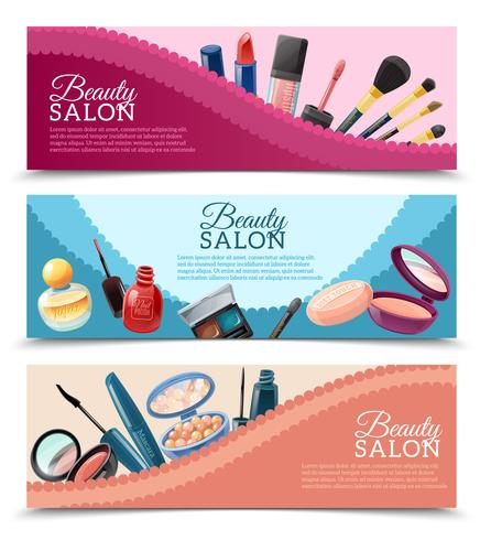 Cosmetics Beauty Make-up Banners Set
