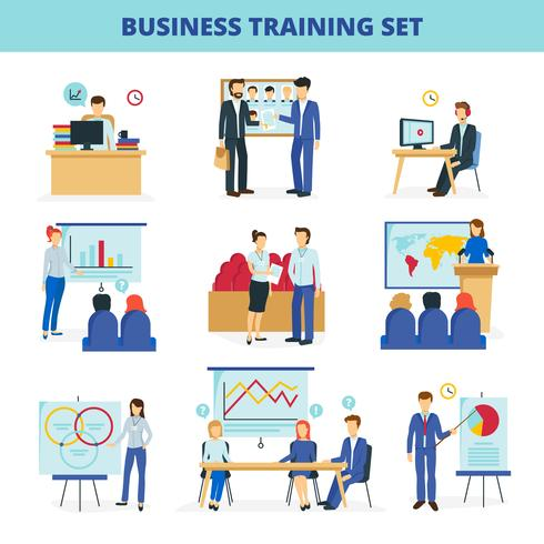 Business Training Workshops Flat Icons Set