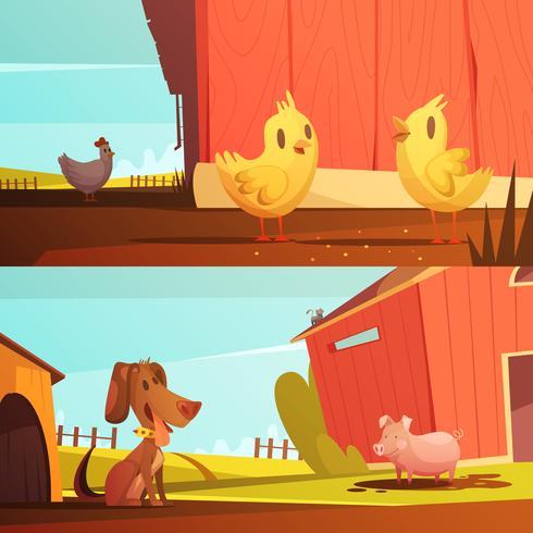 Banners de dibujos animados horizontales de animales de granja 2