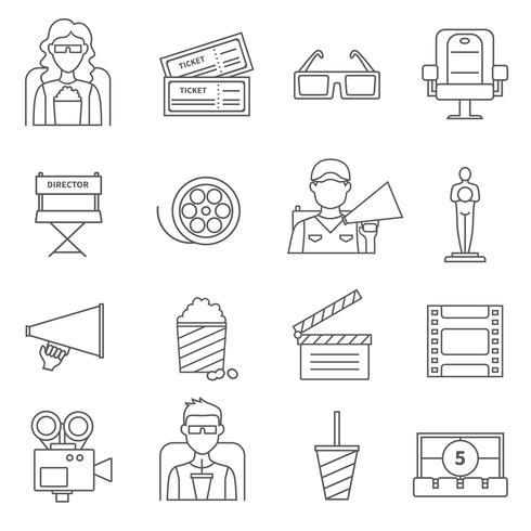 Black Line Cinema Icons Set vector