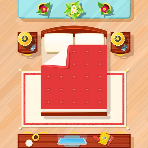 Ilustración de diseño de dormitorio vector