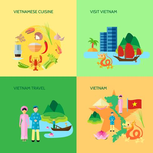 Cultura vietnamita 4 iconos planos cuadrados