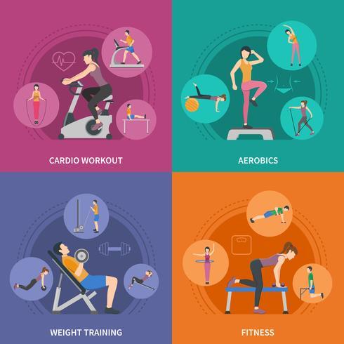 Set di icone di allenamento fitness palestra 2x2