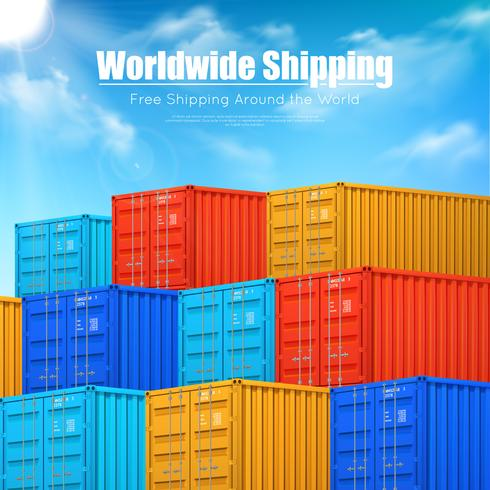 Poster Of Cargo Containers Shipping vector