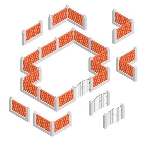 Concepto de diseño isométrico de cercas vector