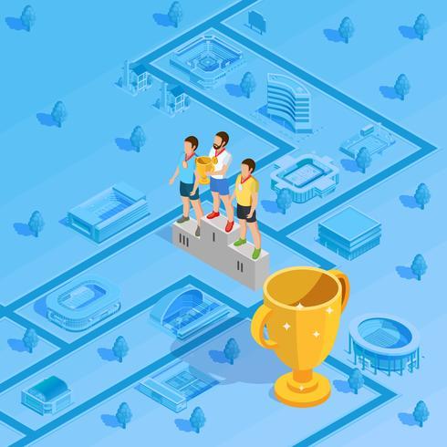 Winners Podium Stadium Background Isometric Poster