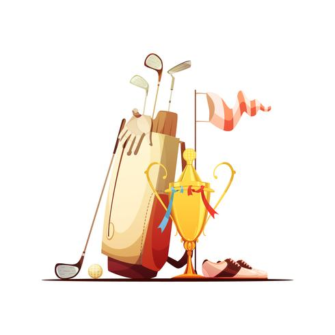 Golf Bag And Trophy Retro Icon