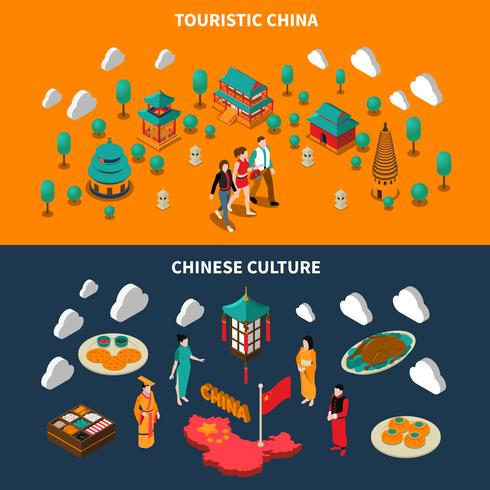 China Touristic Isometric Banners  vector
