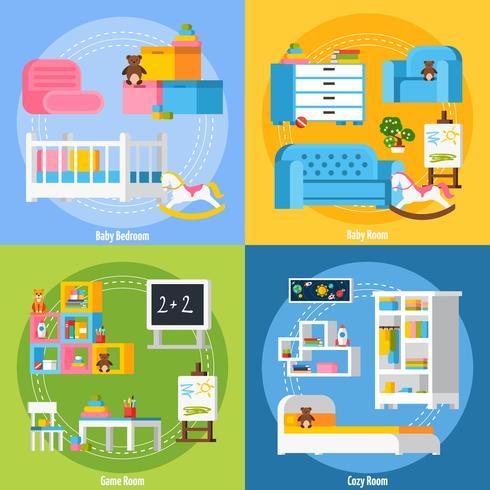 Habitación de bebé plana 2x2 concepto de diseño vector