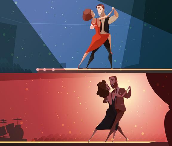 Retro Dance Studio 2 Banners Set vektor