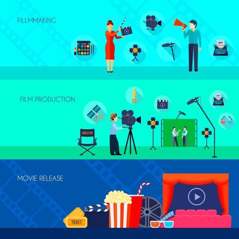 Filmmaking Movie Release 3 platte banners vector