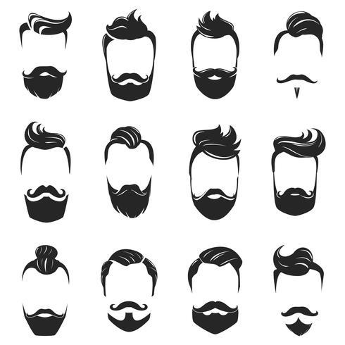 Peinados Set Monocromo Barba Y Cabello vector