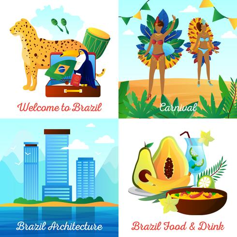 Brazil Travel 4 Flat Icons Square