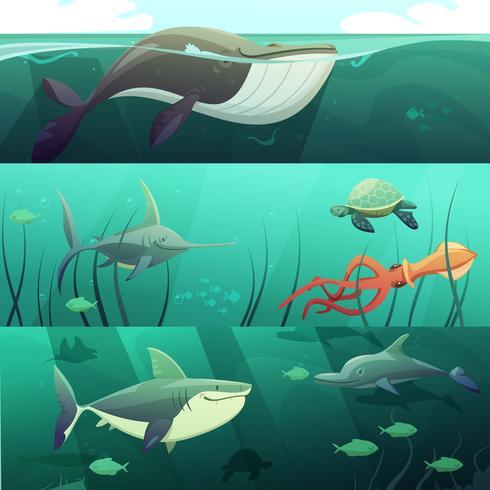Onderwaterleven Retro Cartoon Banners Set vector