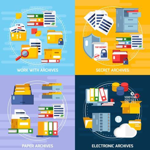 Archive Concept Icons Set vecteur