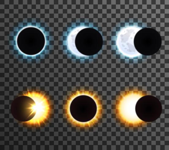 Soleil et Lune Eclipse Transparent Icons Set vecteur