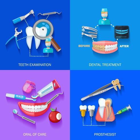 Set di icone piatto dentista 2x2 vettore