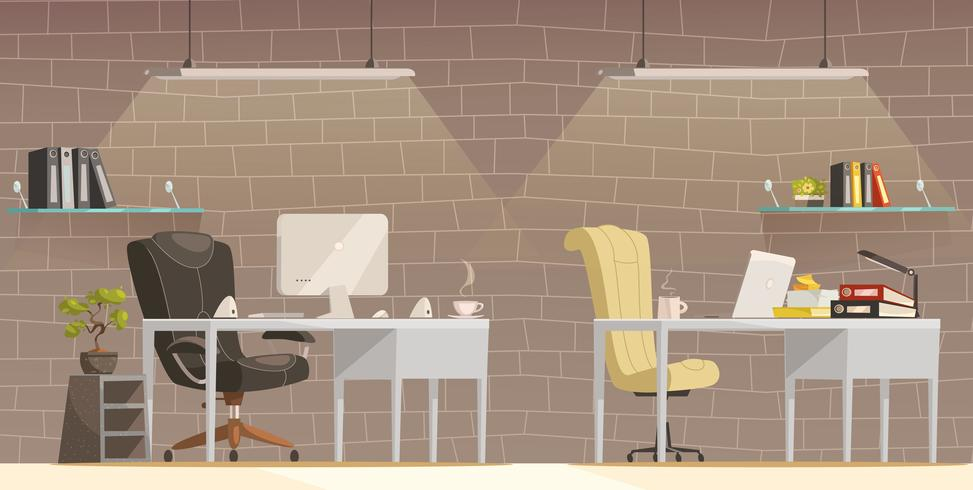 Modern Office Desk  Lighting  Cartoon Poster  vector