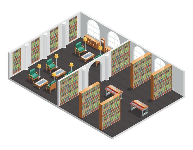 Librairie et bibliothèque intérieur isométrique