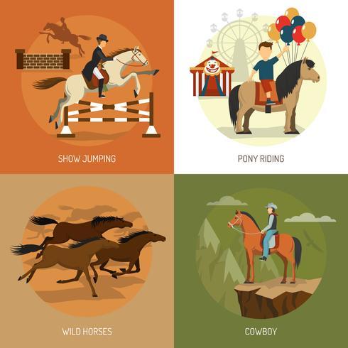 Conceito de raças de cavalo 4 ícones quadrados