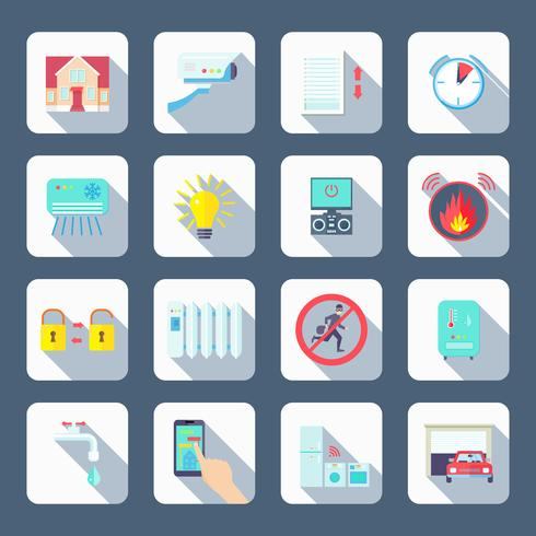 Smart House Square Icons Set