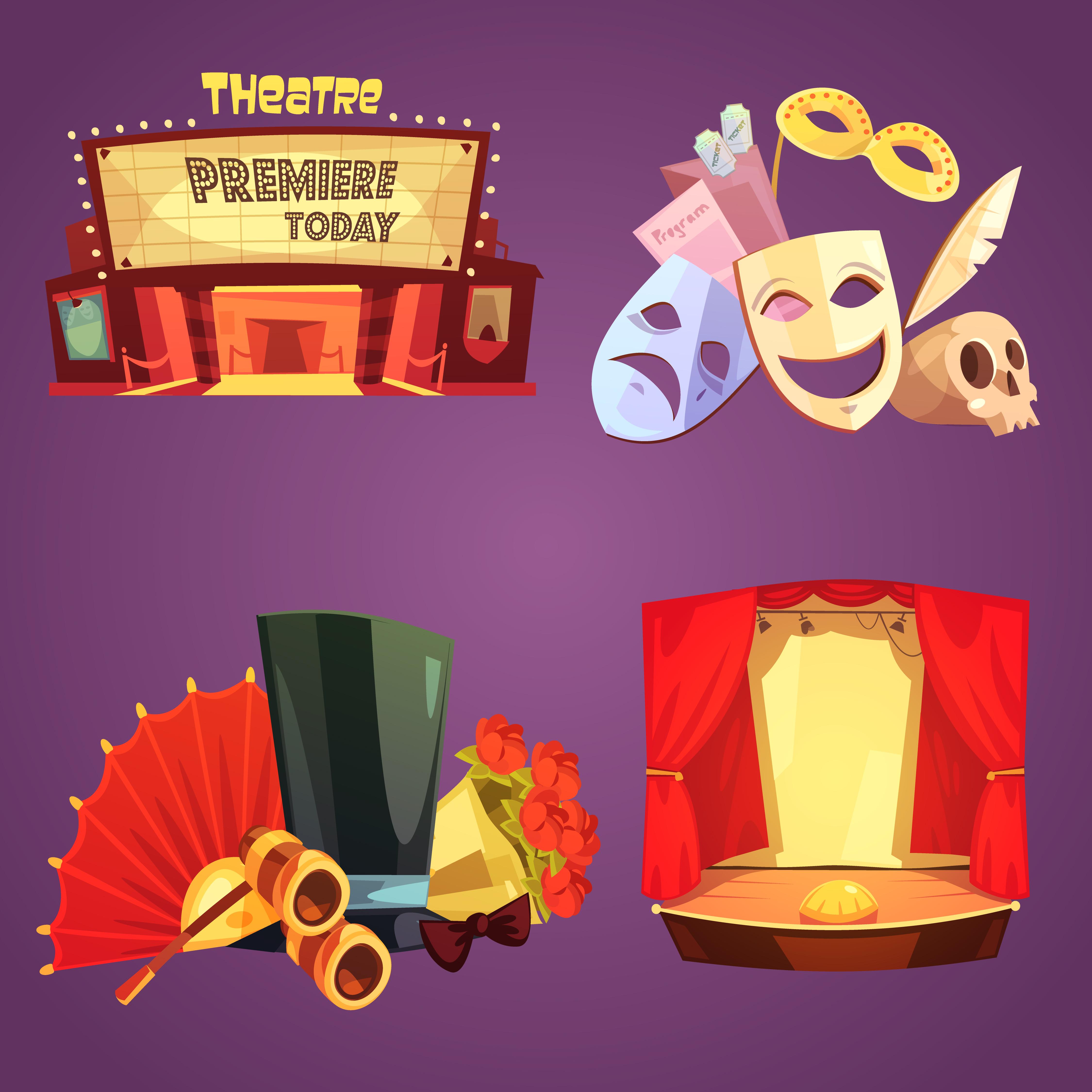 Play Media Logo Set: Theatre Retro Cartoon 2x2 Icons Set 484436