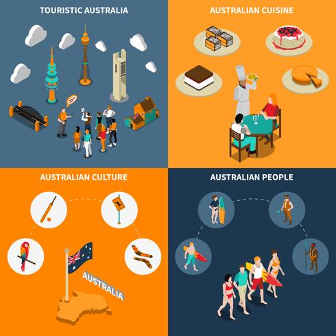 Australia Travel  4 Isometric Icons Square  vector
