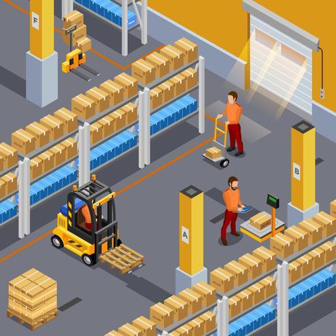 Ilustración de almacén interior vector