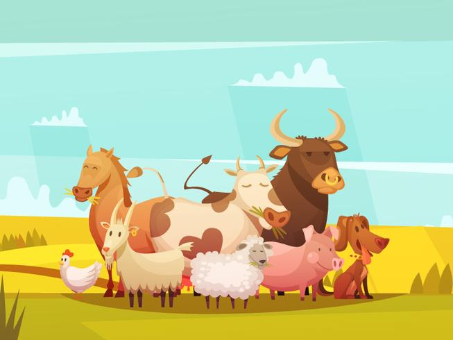 Farm Animals In Countryside Cartoon Poster  vector