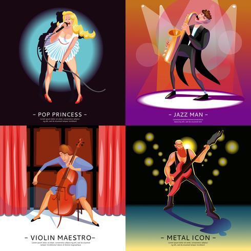 Banners conceptuales de música 2x2 vector