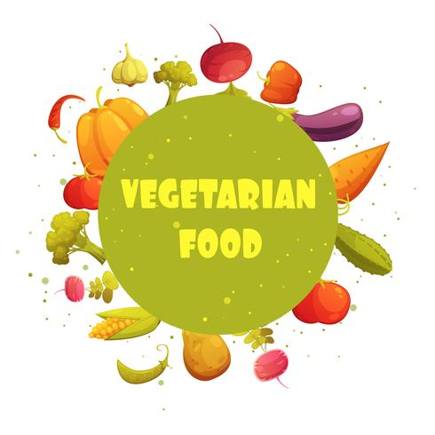 Vegetarian Food Round Vegetables Composition Poster vector