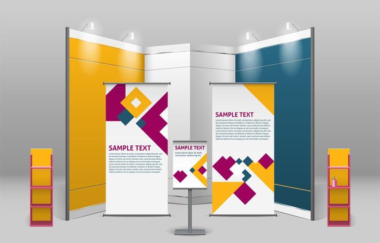 Exposición Publicitaria Stand Design vector