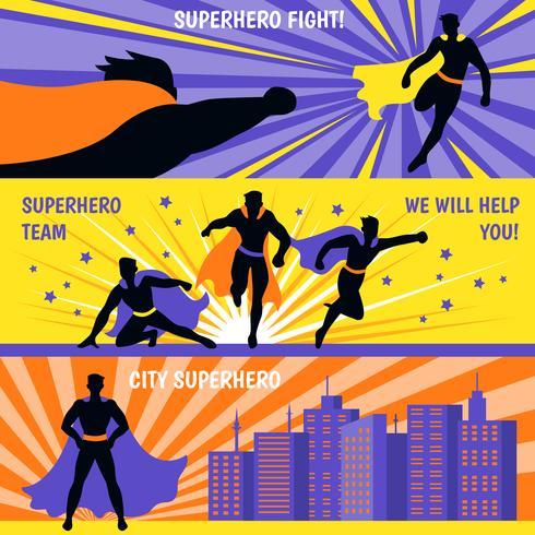 Conjunto de Banners horizontais de super-heróis vetor