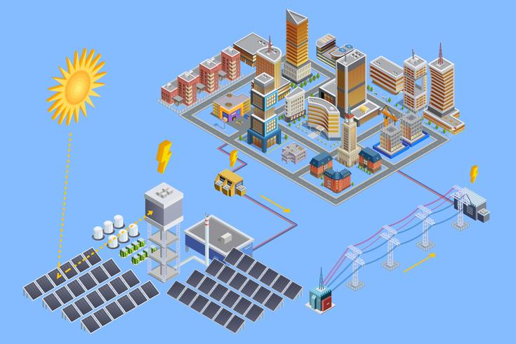 Solar Station Isometric Poster