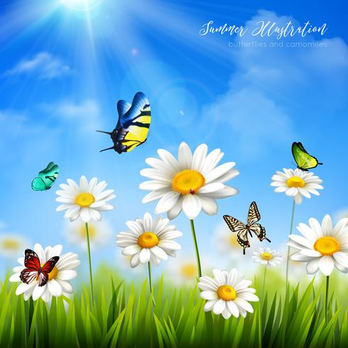 Fleur avec fond papillon