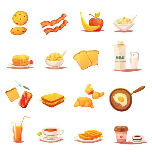 Classic Breakfast Elements Retro Icons Set  vector