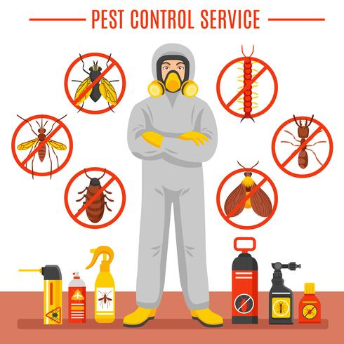 Ilustración del Servicio de Control de Plagas vector