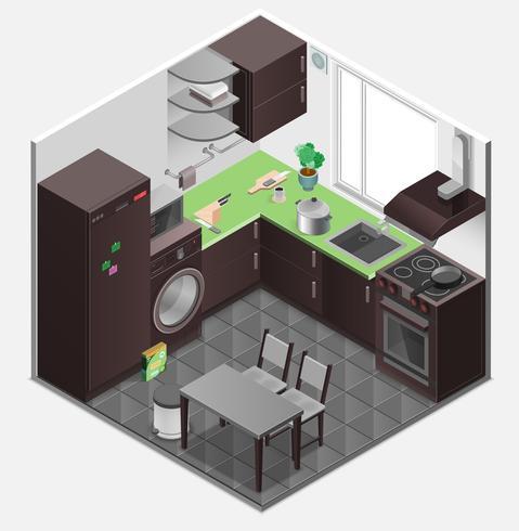 Composizione isometrica interna della cucina