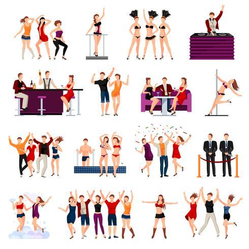 Club de baile personas conjunto de iconos planos vector