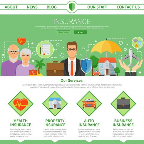 Compagnie d'assurance One Page Flat Design